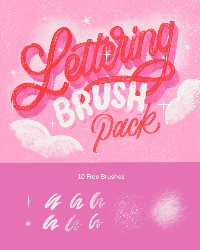 free lettering brush pack for procreate